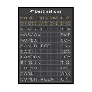 Personalised Airport Flight Departures Board - Printers Mews