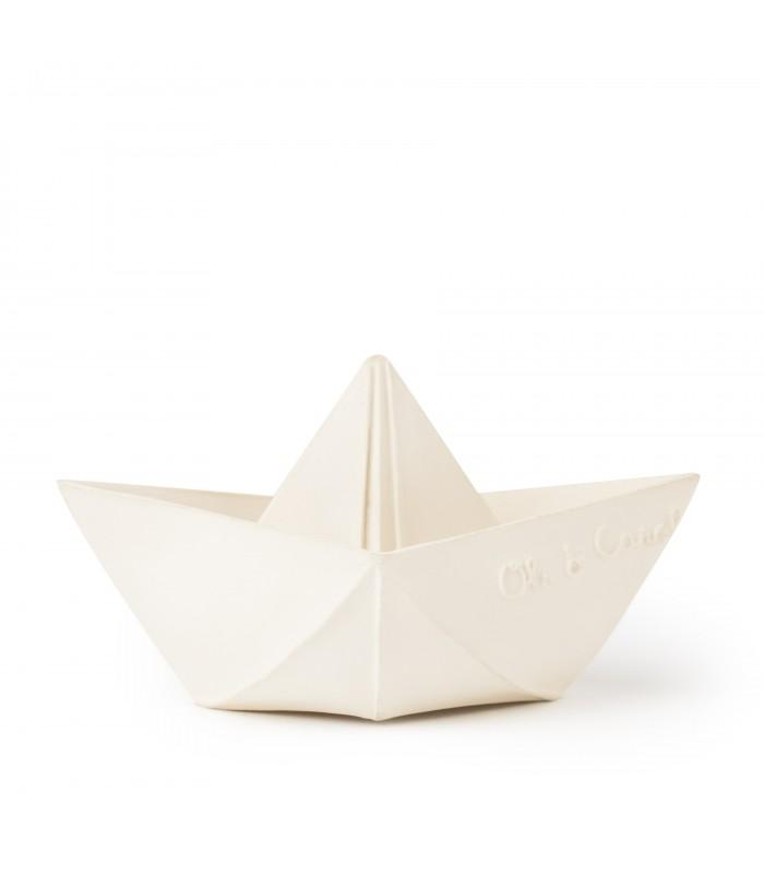 Organic Teething Toy - Origami Boat White