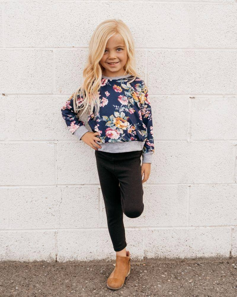 Pullover Sweatshirt - Blue Floral