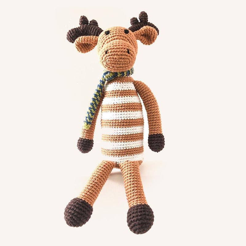 Organic Knit Baby Rattle - Moose