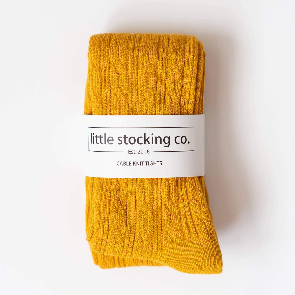 Cable Knit Tights - Marigold Yellow