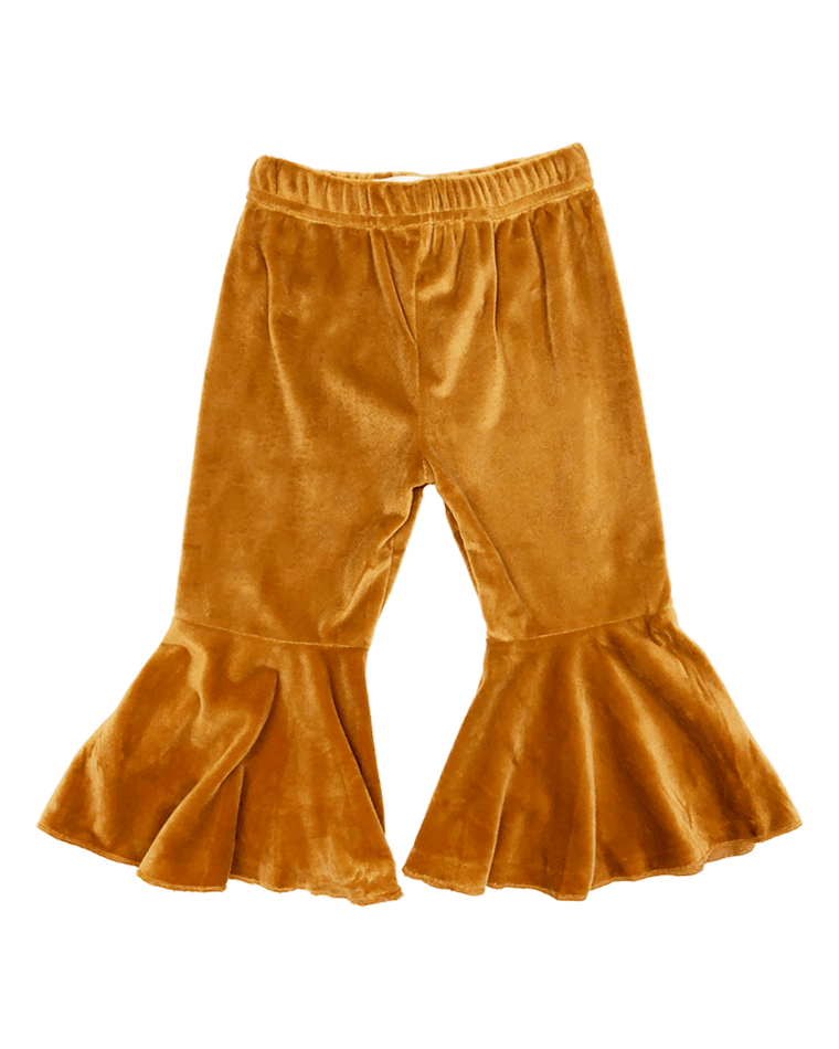 Velour Bell Bottom Pleated Pants - Camel