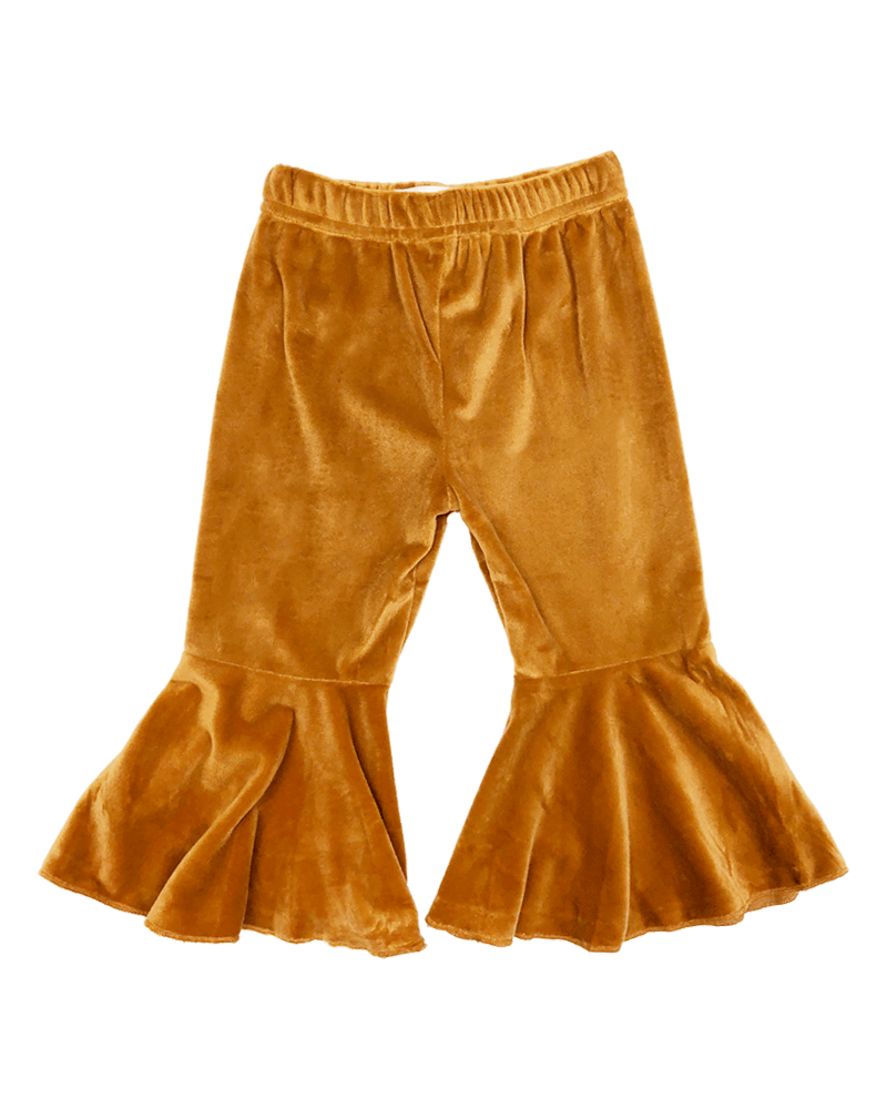 Bell Bottom Velour Pants - Camel