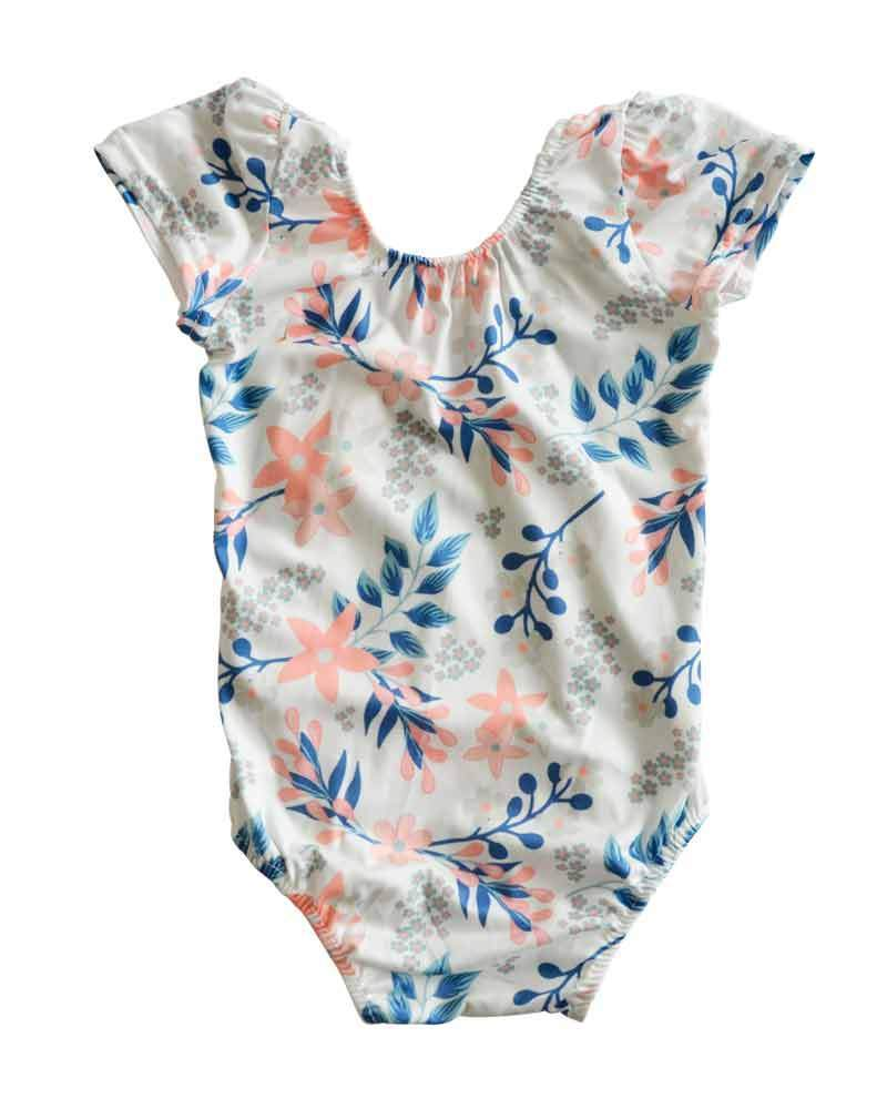 Sleeveless Baby Leotard - Blue and Coral