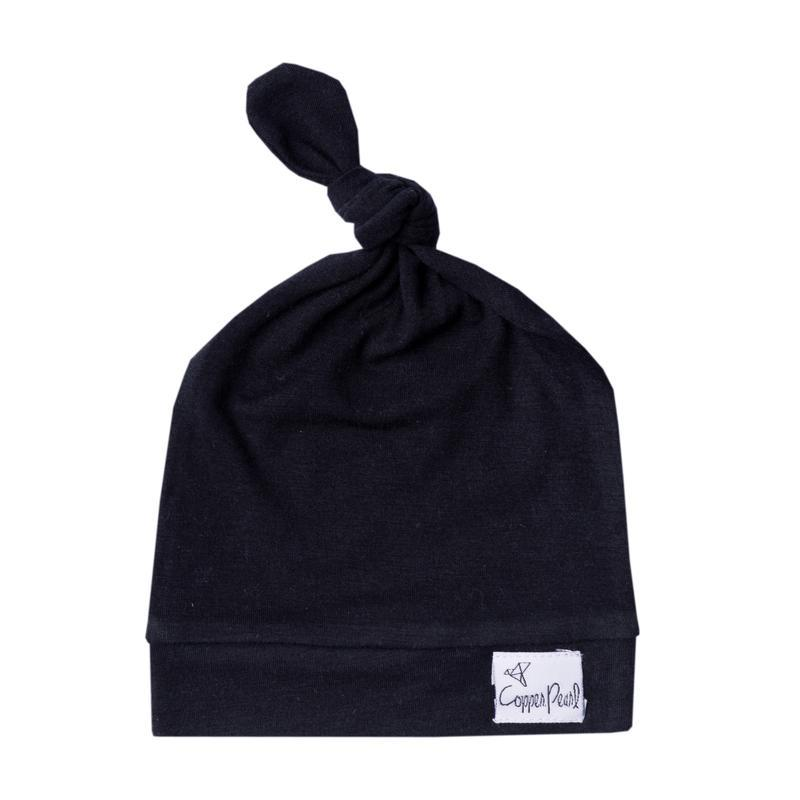 Top Knot Beanie for Infants - Black