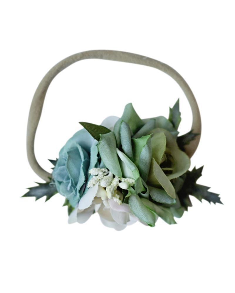 Floral Stretch Baby Headband- Mint