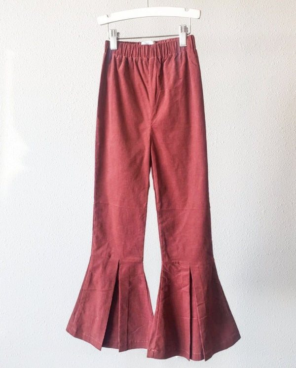 Corduroy Pleated Bell Bottoms for Big Sister - Rosewood