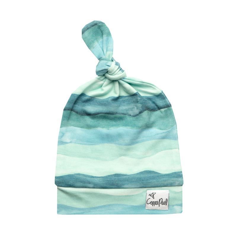 Top Knot Beanie for Infants - Waves