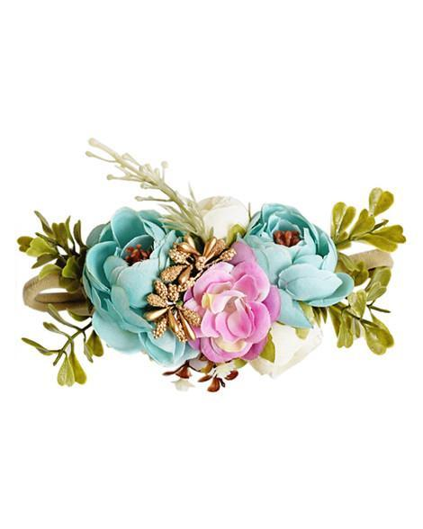 Floral Stretch Baby Headband- Aqua and Pink