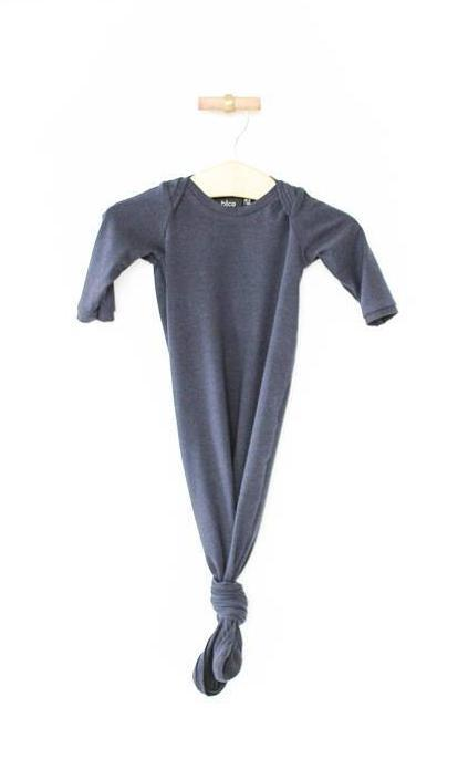 Knotted Sleeper Gown for Newborns - Navy
