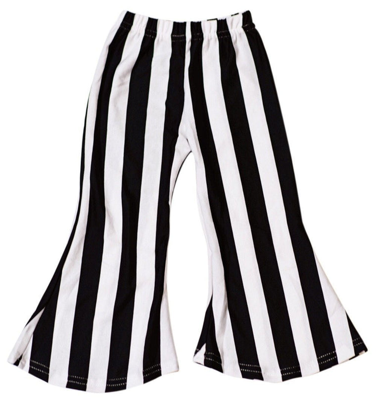 Bell Bottom Baby Pants - Black and White Striped