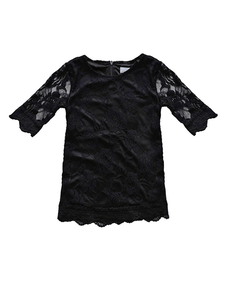 Vintage Lace Baby Dress - Black