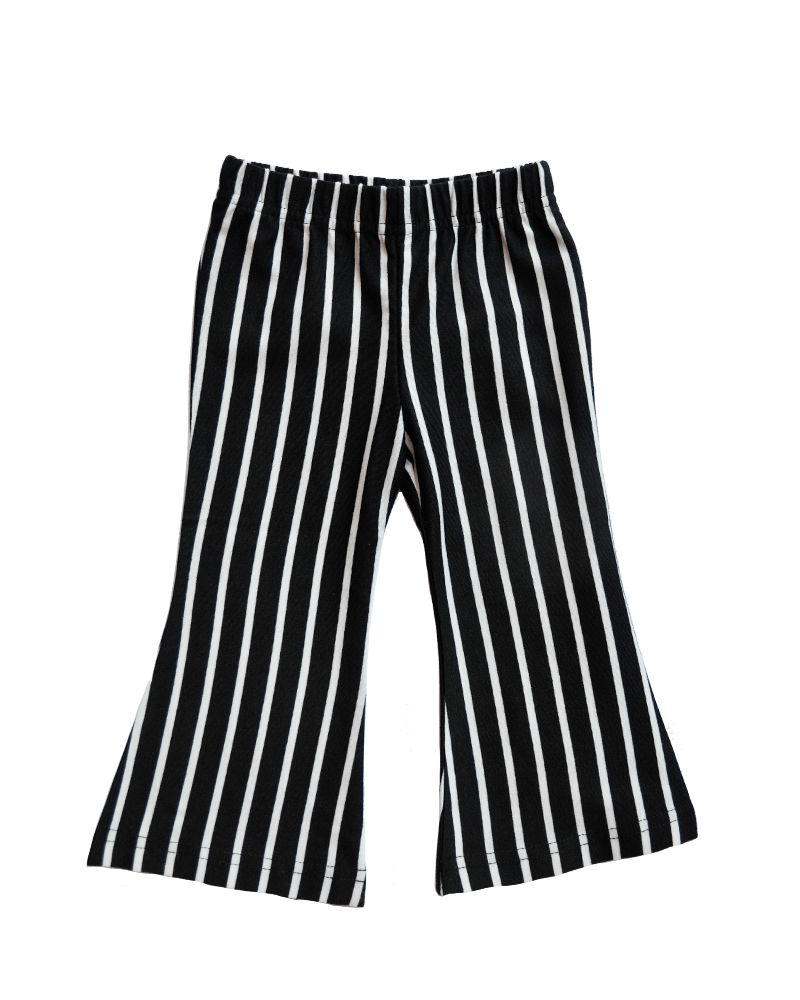 Bell Bottom Pants - Black and White Striped