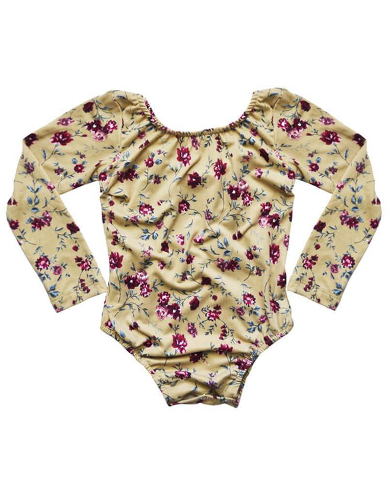 Leotard for Babies and Toddlers - Tan Floral