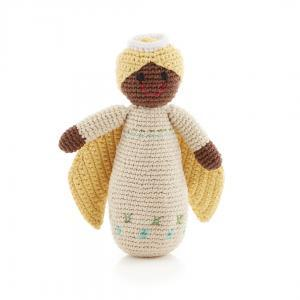 Organic Knit Angel Baby Rattle - Cream