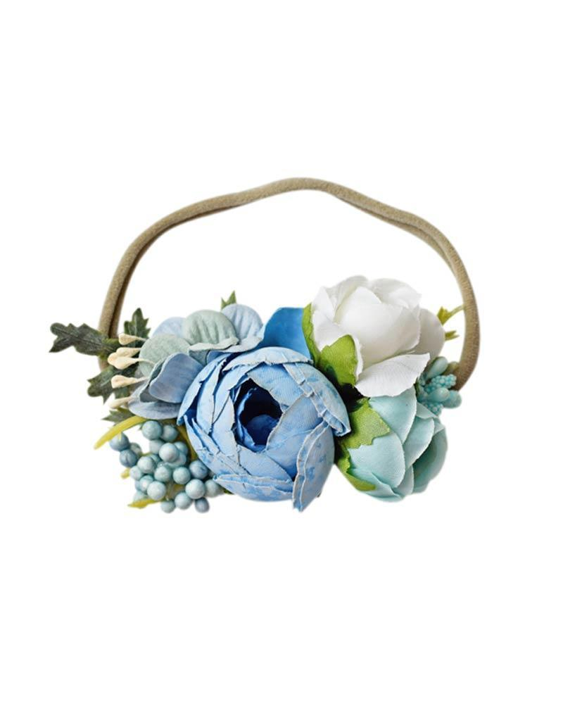 Floral Stretch Baby Headband- Blue