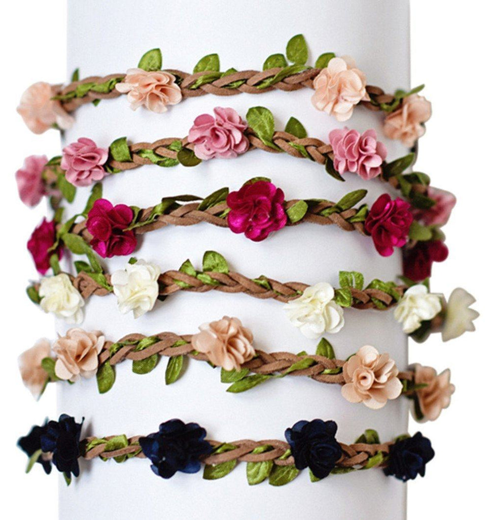 Braided Leather Rosette Headband