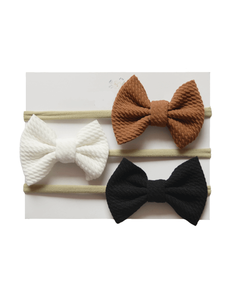 Bow Headband Set - Brown, White, Black