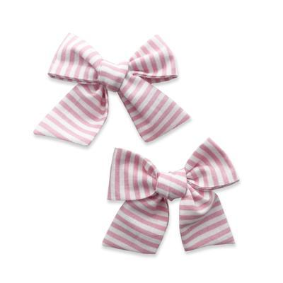 Baby Bling Big Cotton Bow Clips - Bubblegum Stripe