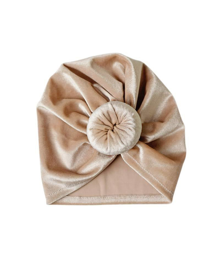 Velour Bun Beanie for Babies - Tan