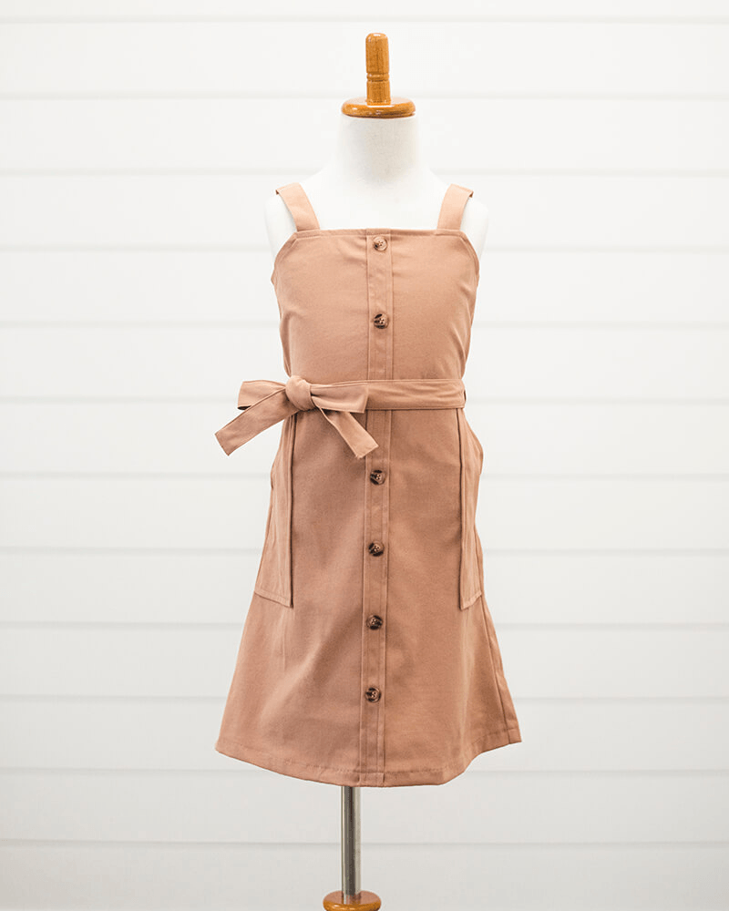 Button Front Mini Dress - Faded Clay