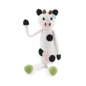 Organic Knit Baby Rattle - Cow