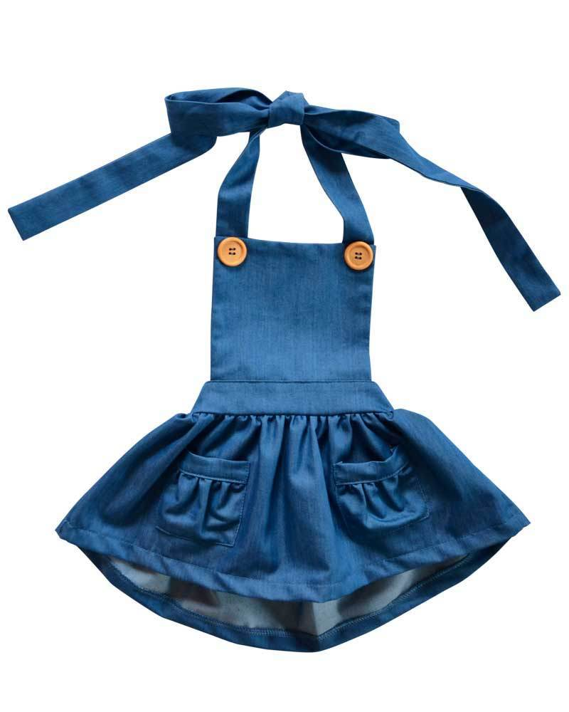 Skirt Pocket Bib - Denim