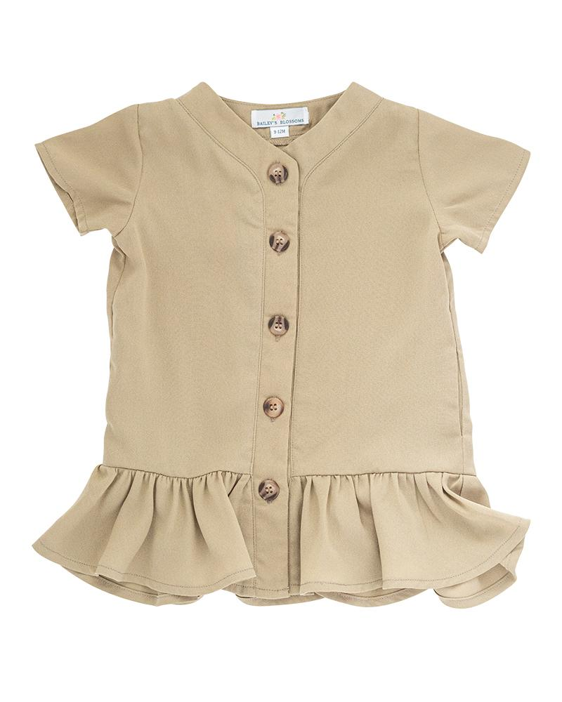 Dress Ruffle Hem - Beige