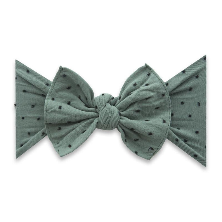 Baby Bling Bow Patterned Shabby Knot - Fern w/Black Dots