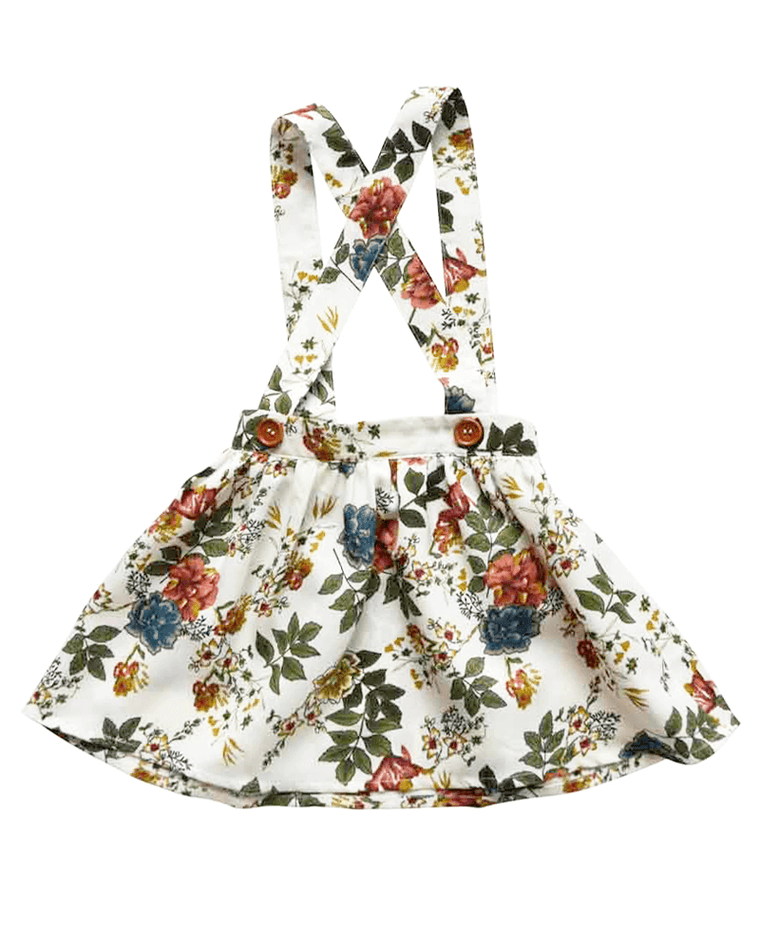 Suspender Skirt for Babies and Toddlers - White Floral