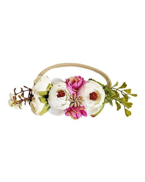 Floral Stretch Baby Headband- Fuchsia and Ivory
