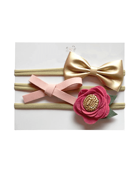 Headband Bow Set - Pink and Gold