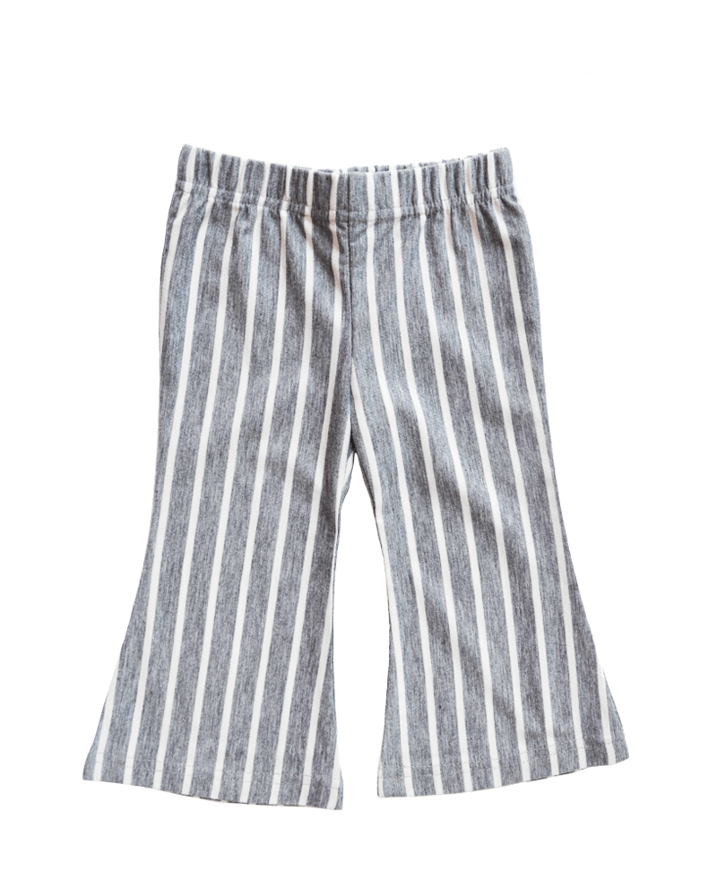 Bell Bottom Pants - White and Gray Striped