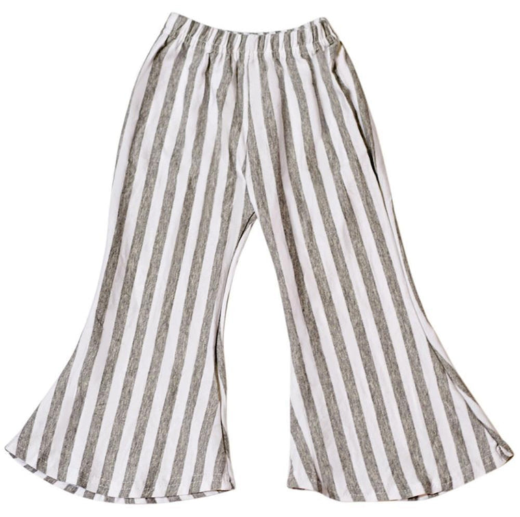 Bell Bottom Baby Pants - Gray and White Striped