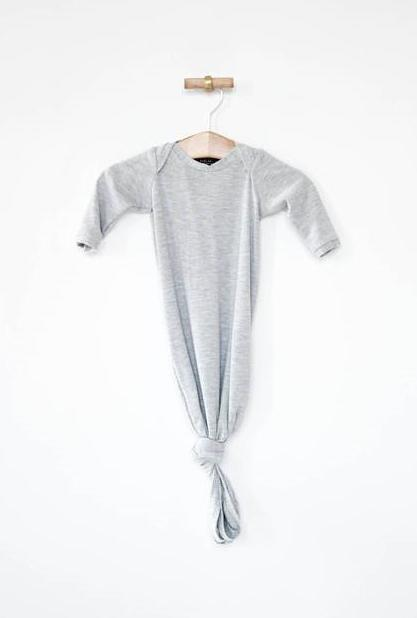 Knotted Sleeper Gown for Newborns - Heather Gray