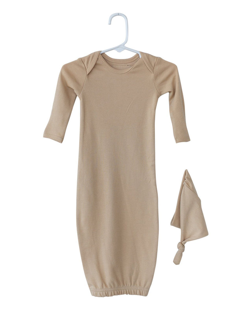 Organic Cotton Baby Sleeper Gown Set - Hazelnut