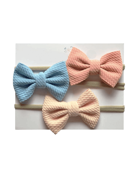 Bow Headband Set - Blue, Blush, Cream