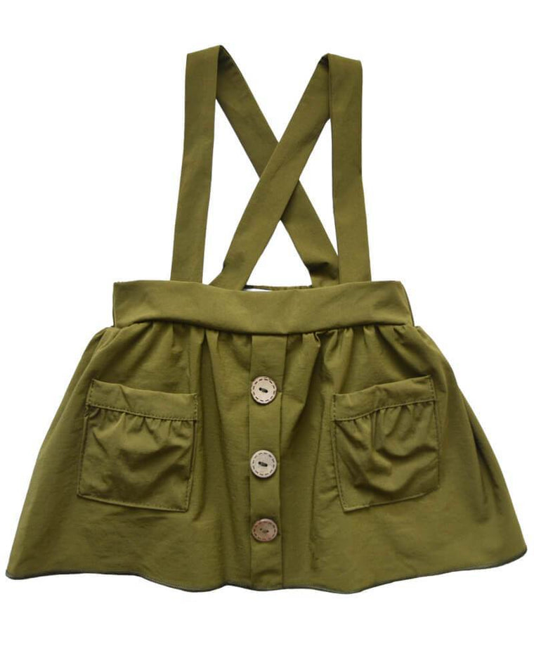 Suspender Pocket Skirt  - Hunter Green