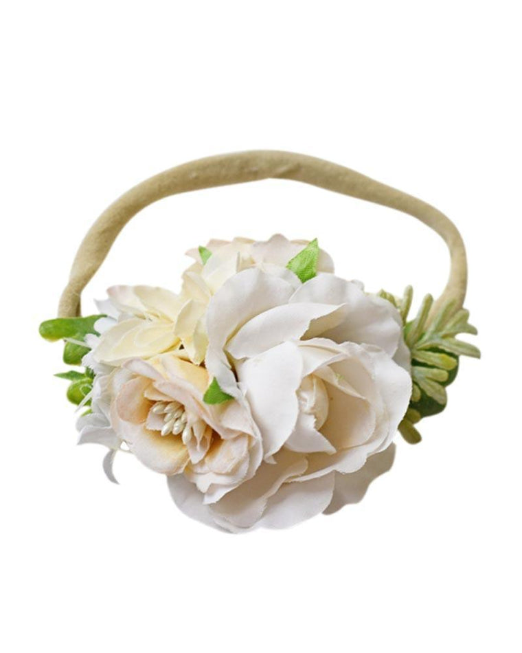 Floral Stretch Baby Headband- Ivory Rose
