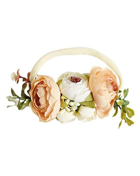 Floral Stretch Baby Headband- Peach and Ivory