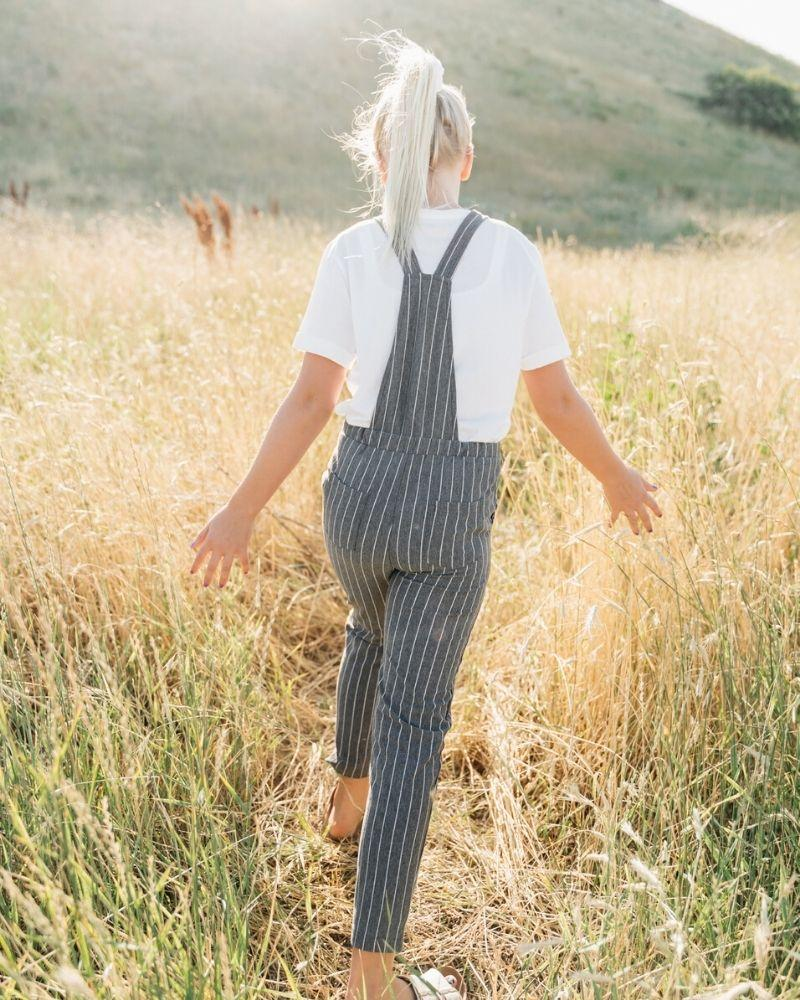 Overall Jumpsuit - Gray and White Striped