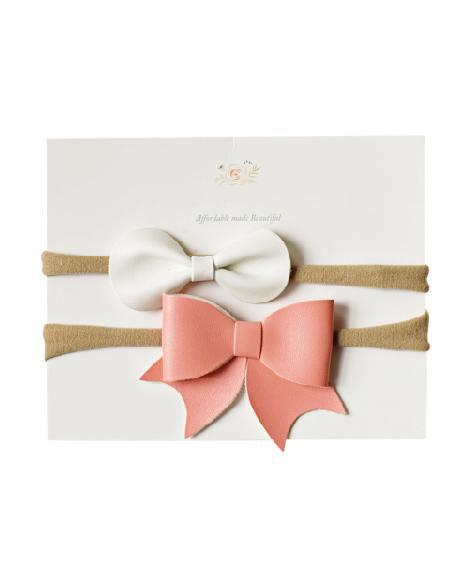 Leather Headband Bow Duo - Ivory/Pink