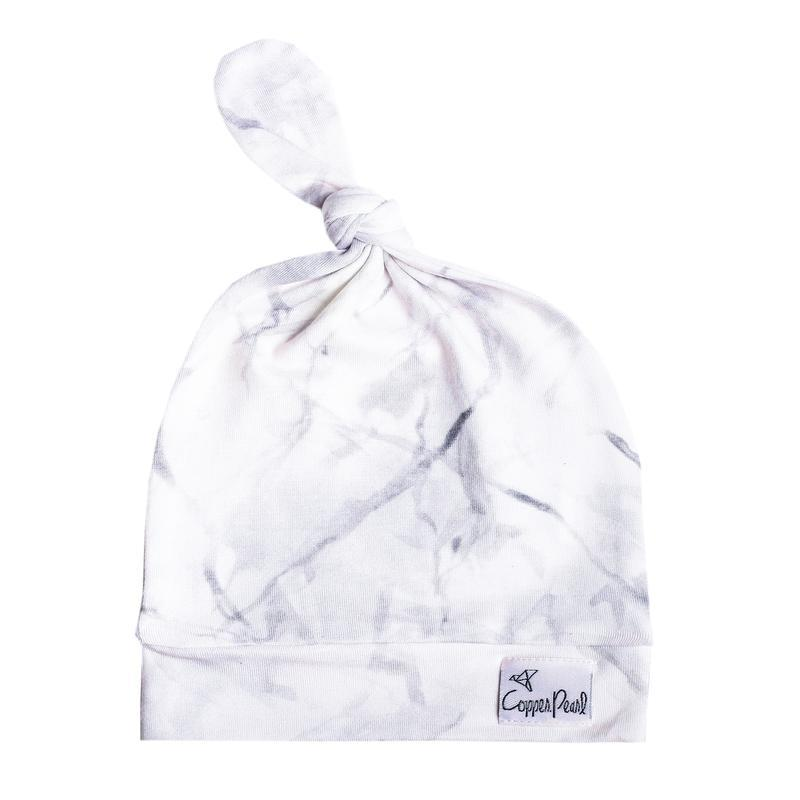 Top Knot Beanie for Infants - Marble