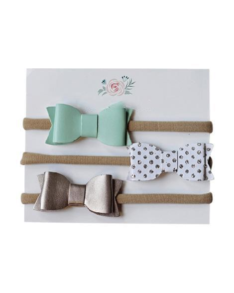 Leather Bow Set - Mint/Metallic