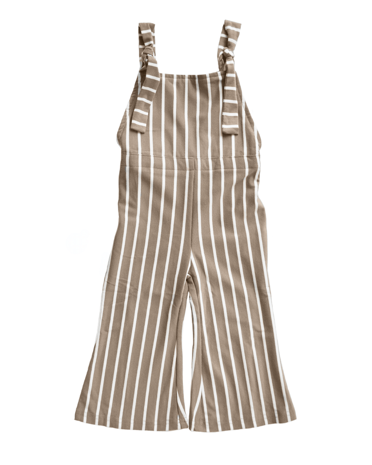 Bell Bottom Jumpsuit - Mocha Striped