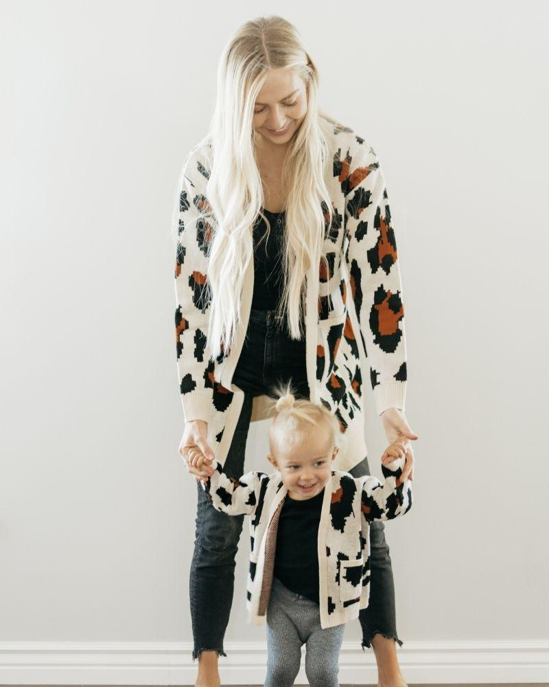 Cardigan Mommy and Me - Leopard