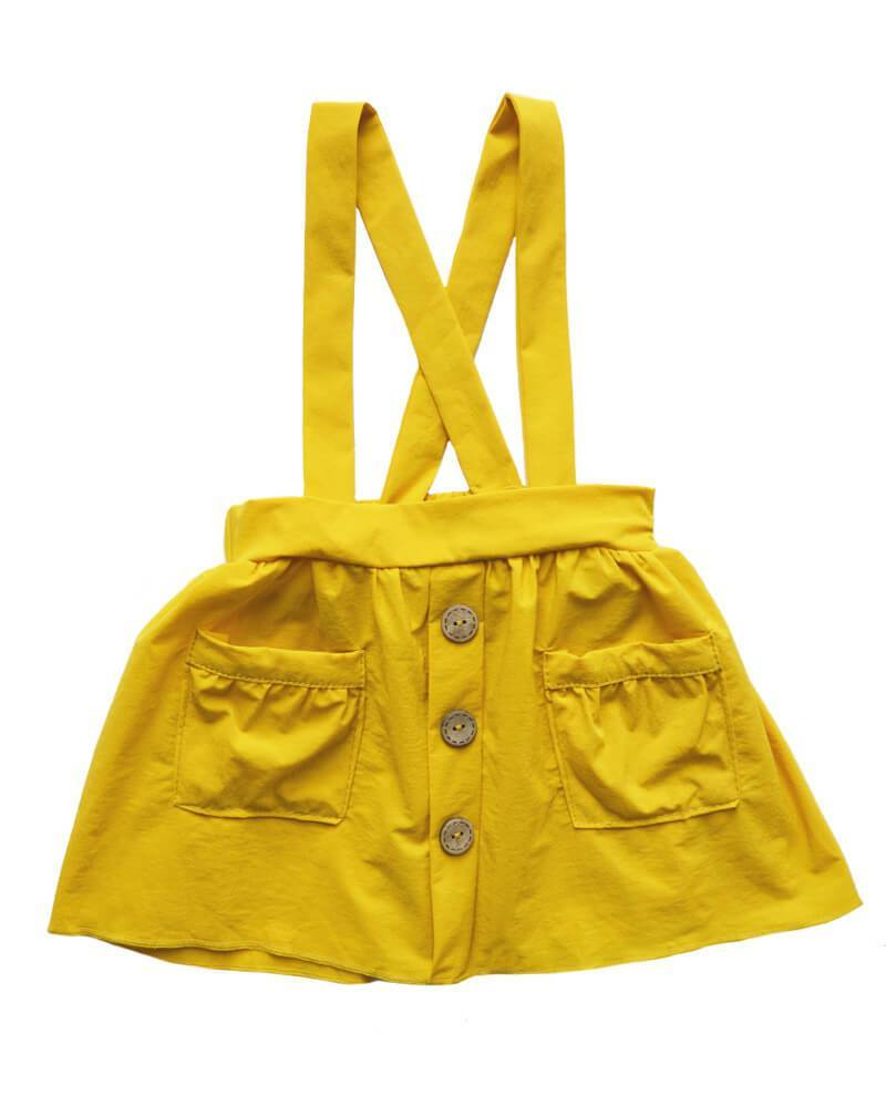 Suspender Pocket Skirt  - Mustard
