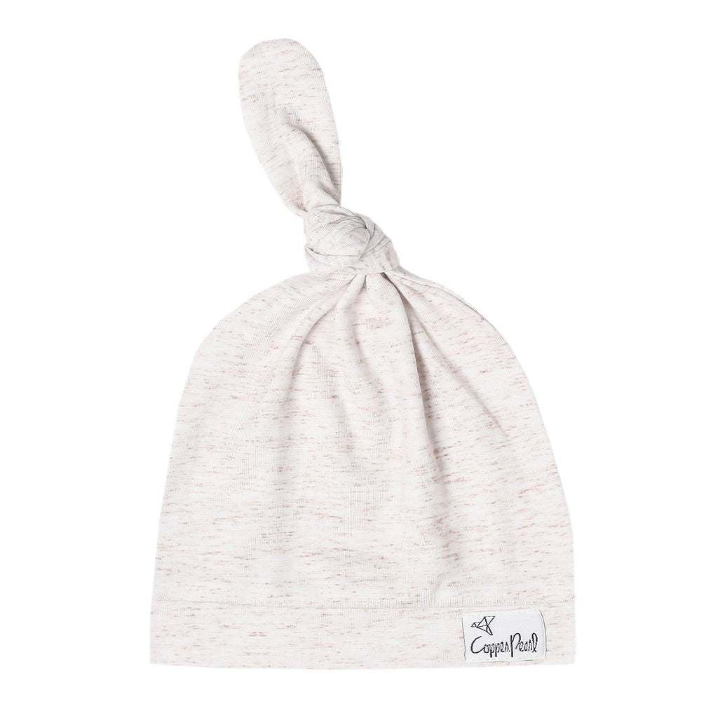 Top Knot Beanie for Infants - Oat