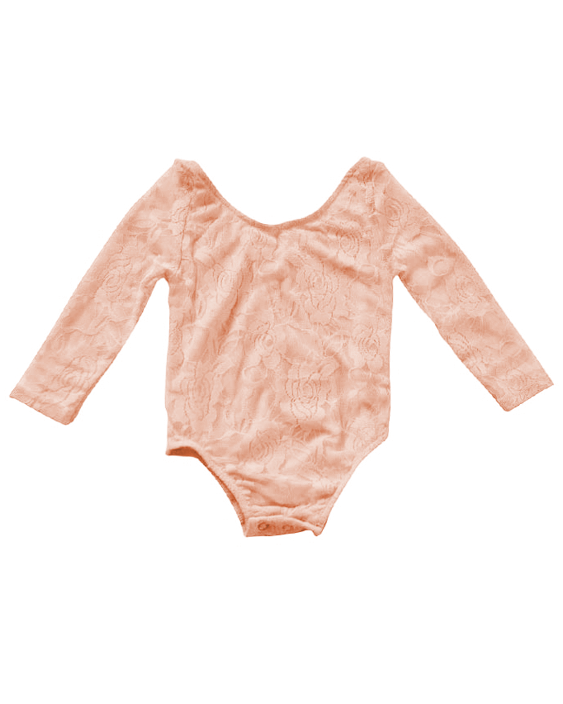 Lace Baby Leotard - Peach