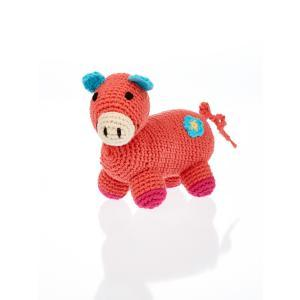 Organic Knit Baby Rattle - Chubby Pig